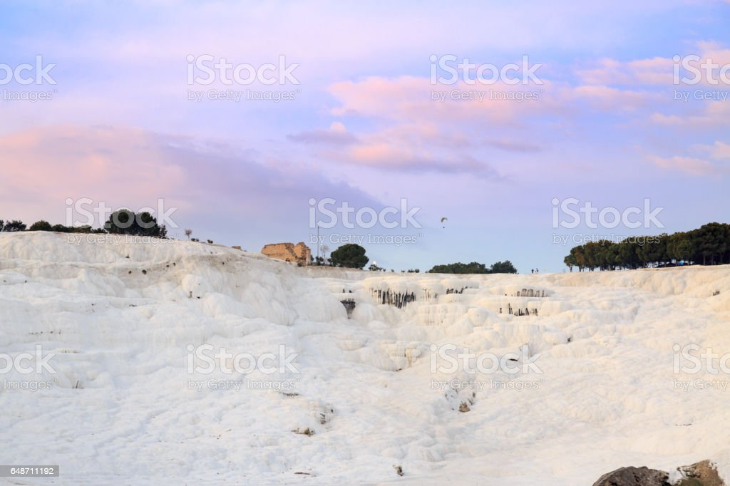Pamukkale with hierapolis during sunset stock photo