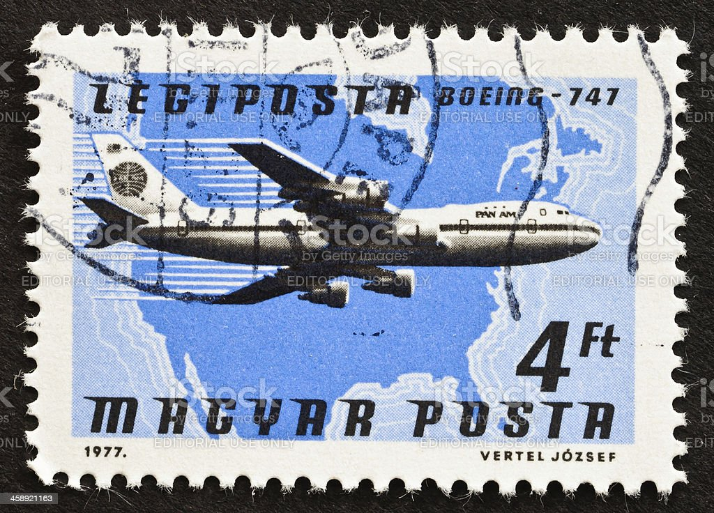 Pan Am Airlines Stamp royalty-free stock photo