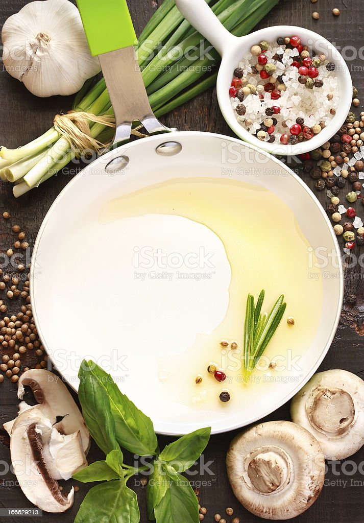 Pan and food ingredients. royalty-free stock photo