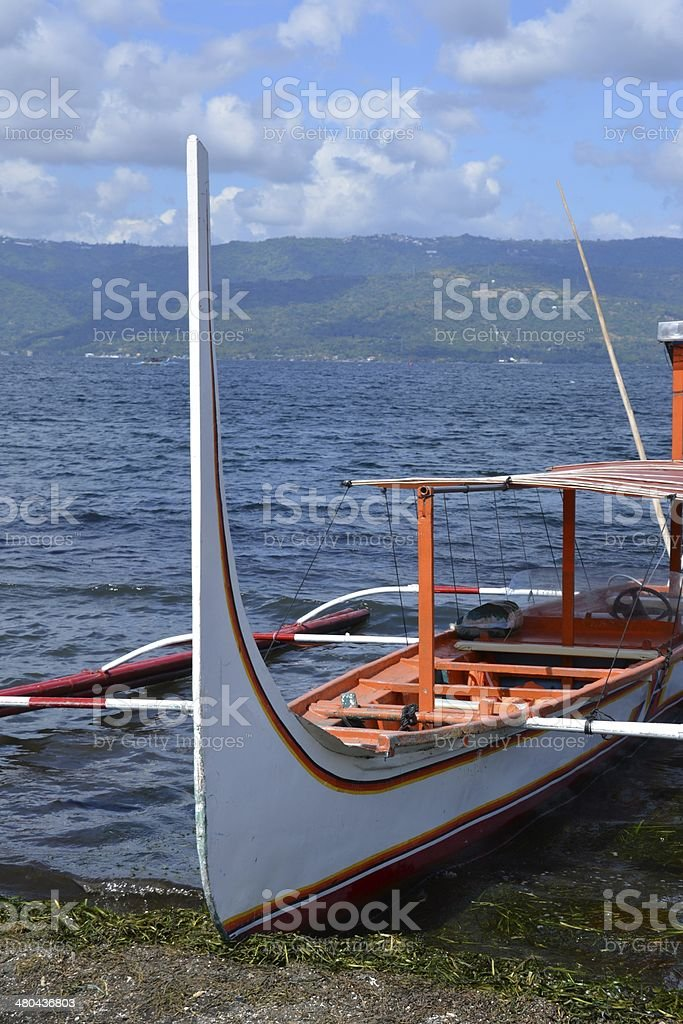 Pan boat at Volcano island, Lake Taal Philippines stock photo