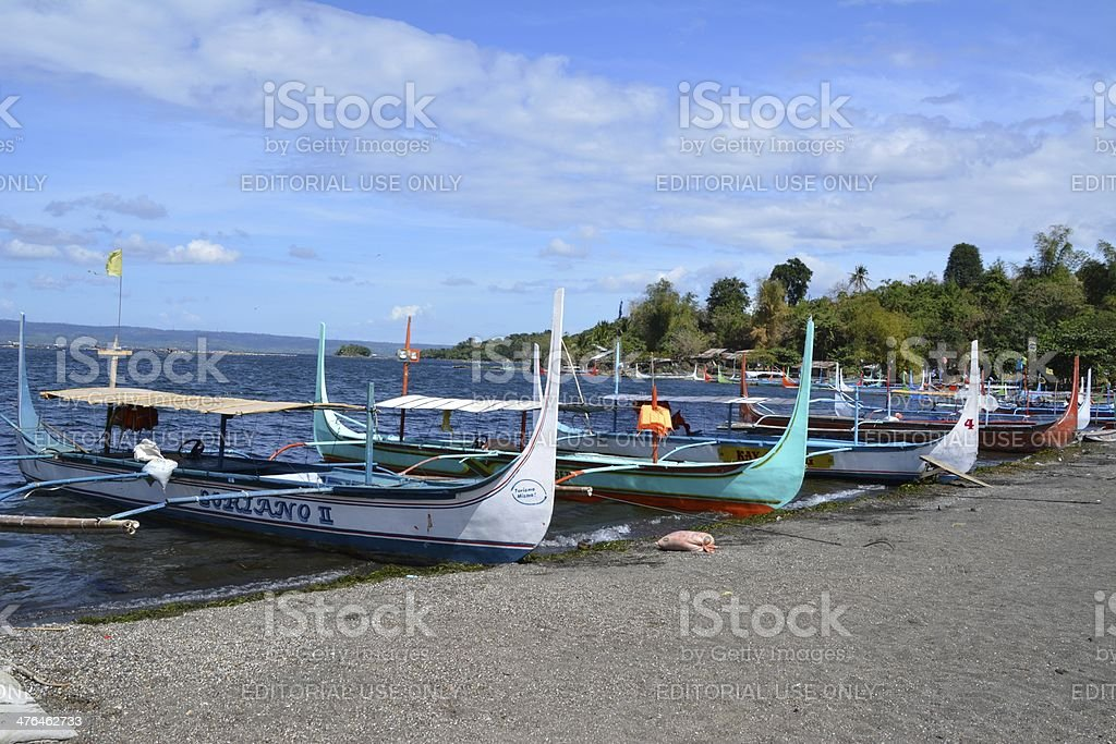 Pan boats at Volcano island, Lake Taal Philippines stock photo