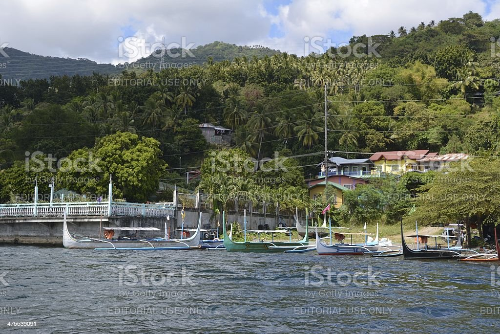 Pan boats to Taal Volcano, Talisay village Philippines stock photo