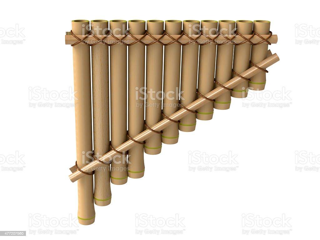 Pan flute, bamboo musical instrument stock photo