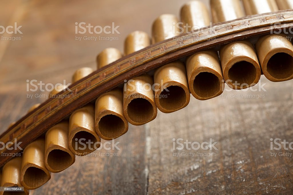 Pan flute close up stock photo