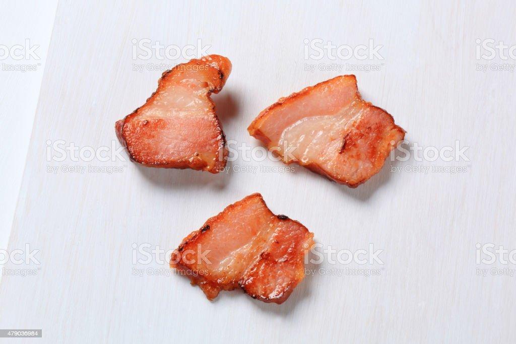 Pan fried bacon stock photo