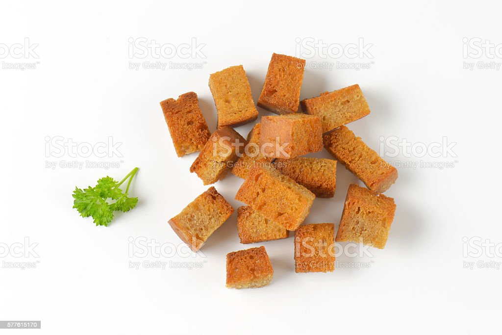 pan fried bread cubes stock photo