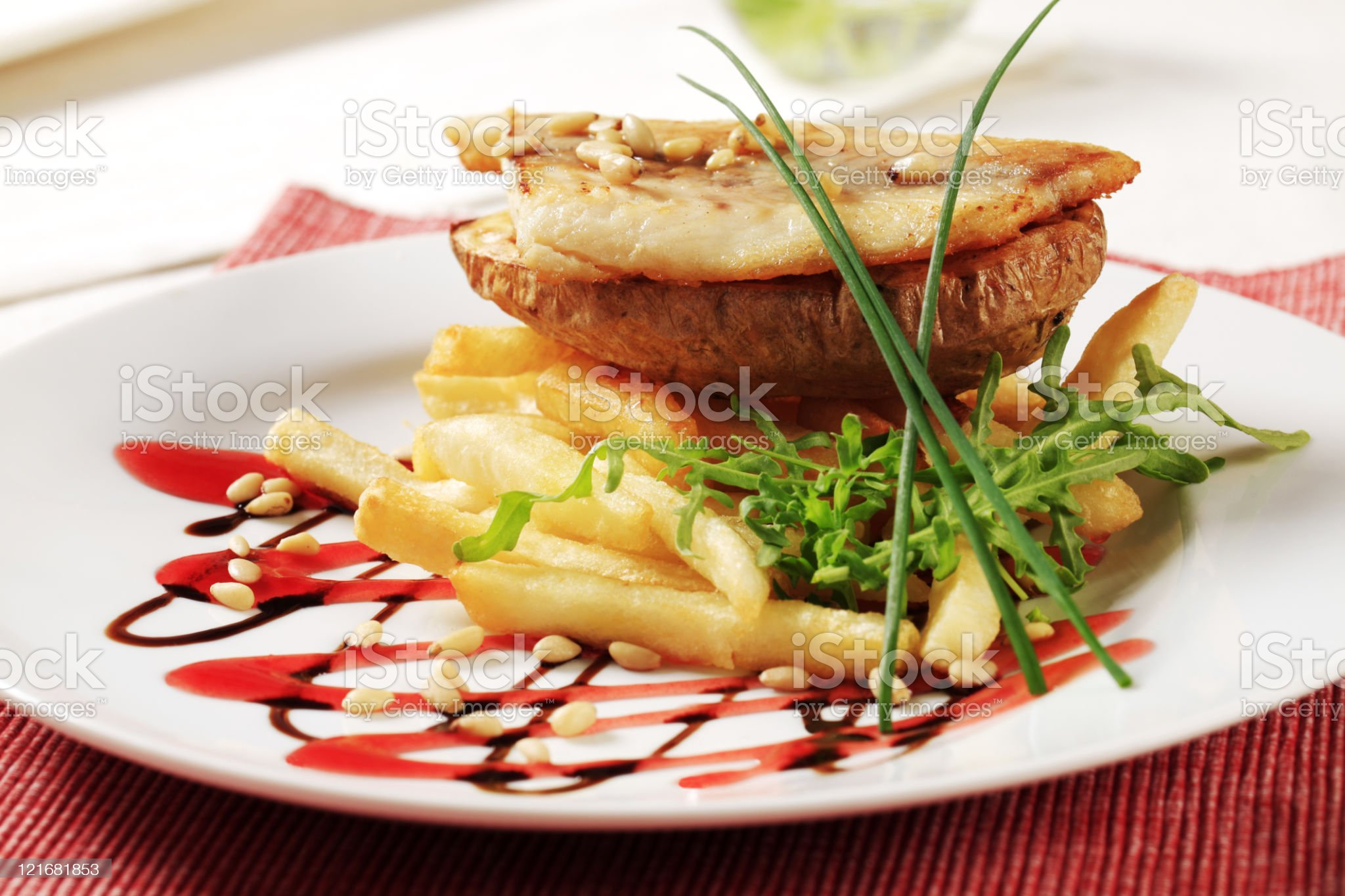 Pan fried fish fillet and fries royalty-free stock photo