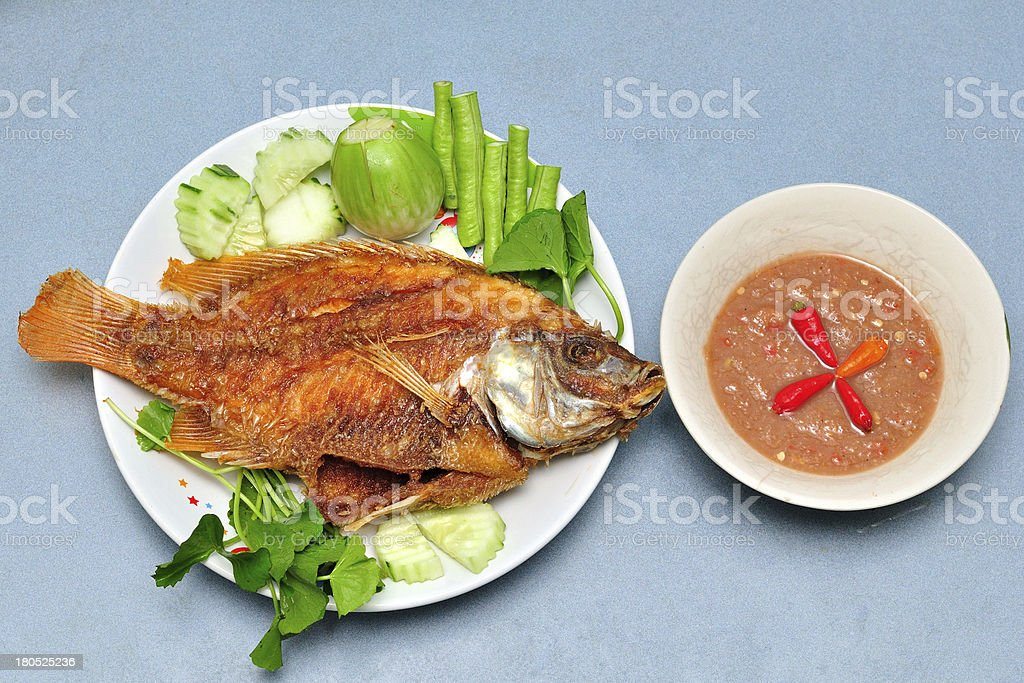 Pan fried fish stock photo