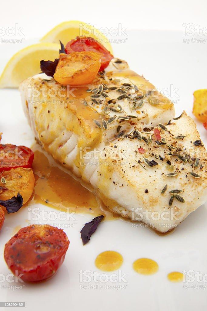 Pan fried halibut stock photo