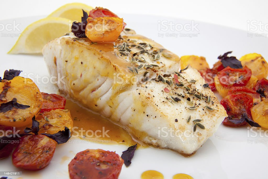 Pan fried halibut stock photo