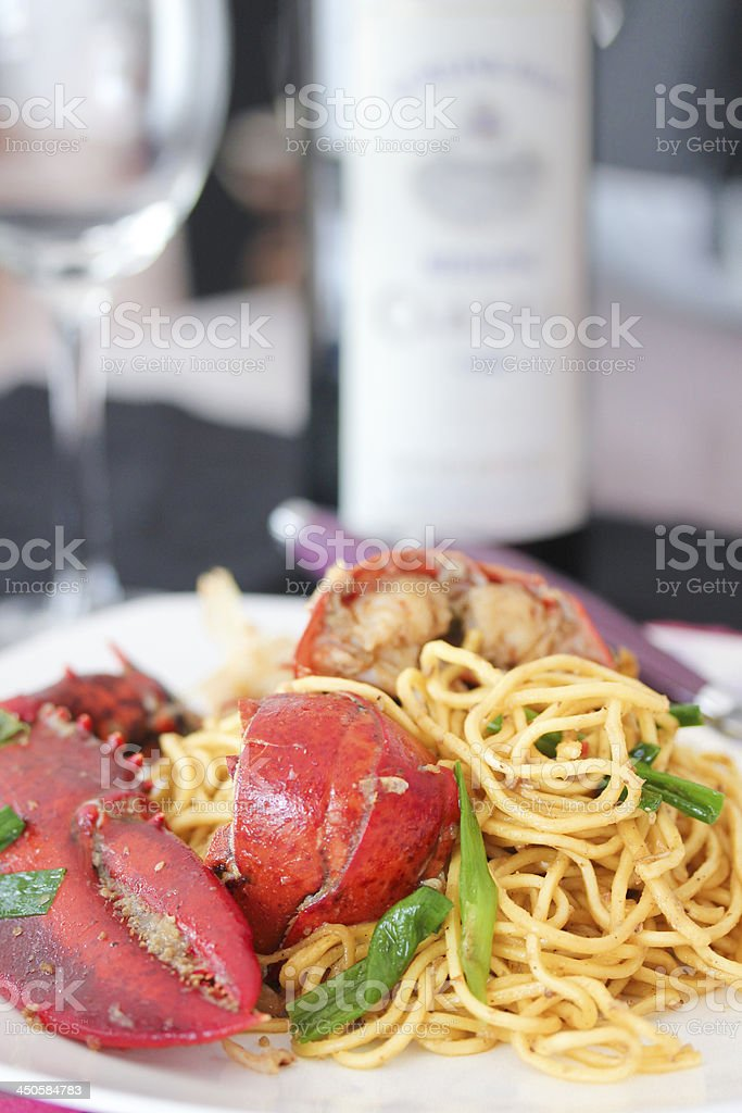 Pan fried noodle with lobster stock photo