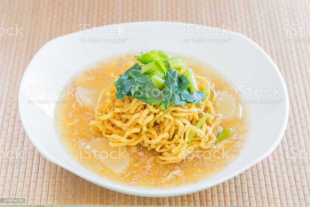Pan fried noodles with pork. stock photo
