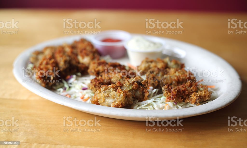 Pan Fried Oysters with Crispy Panko stock photo