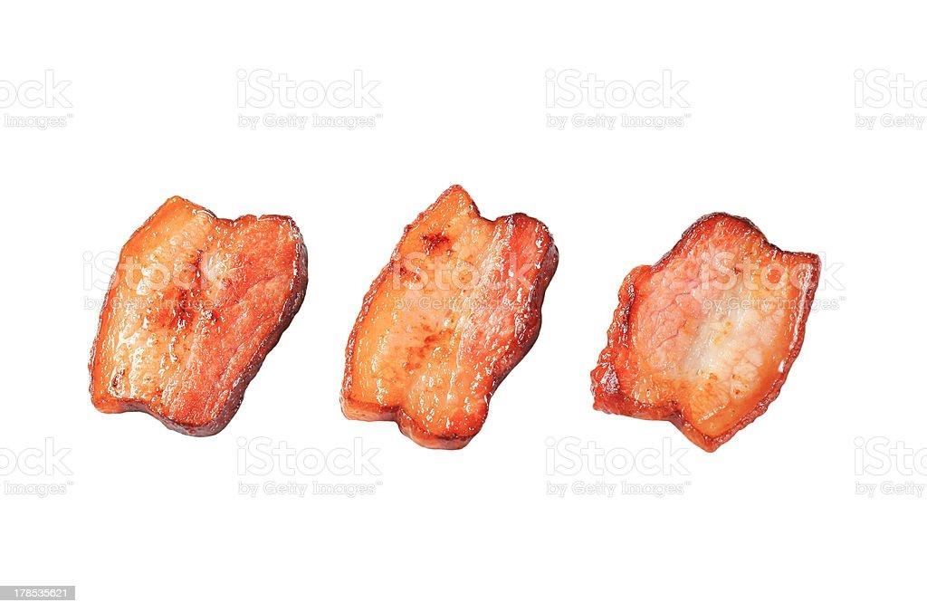 Pan fried pieces of salt pork stock photo