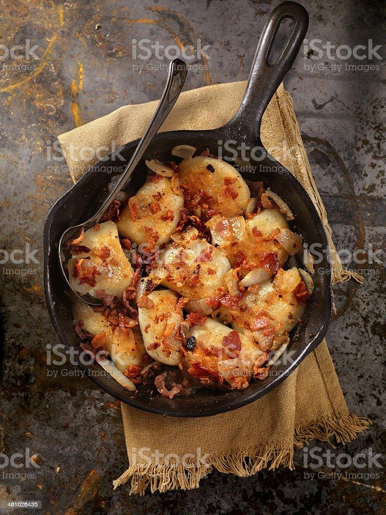 Pan Fried Pierogies stock photo
