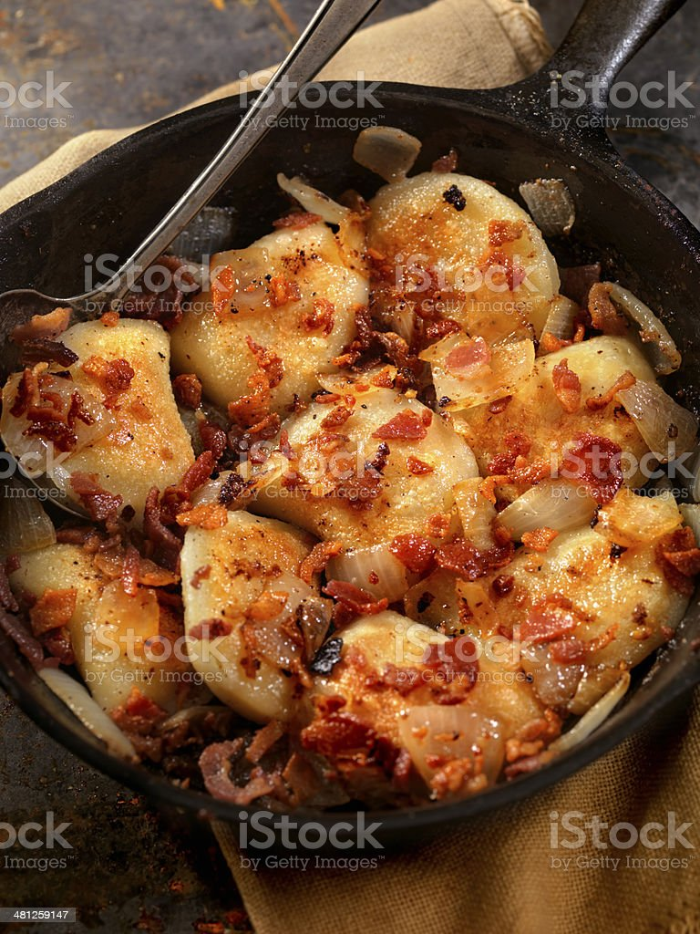 Pan Fried Pierogies stock photo