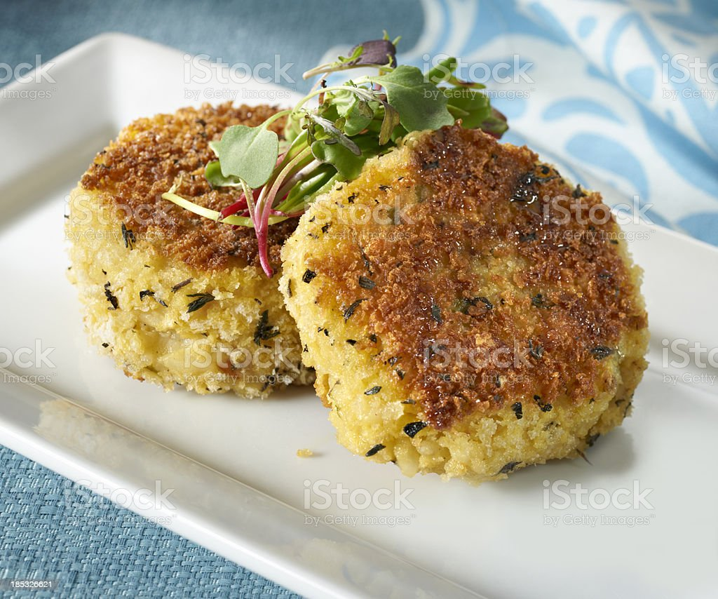 Pan fried Risotto Cakes stock photo