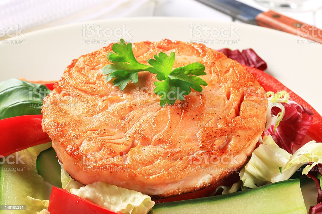 Pan fried salmon royalty-free stock photo