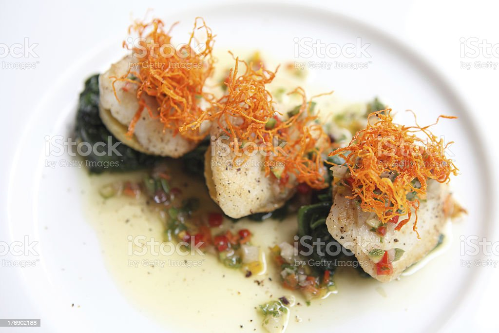pan fried sea bass fish fillet royalty-free stock photo