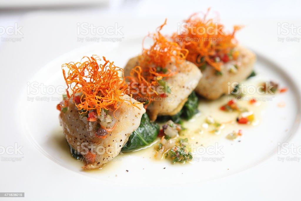 pan fried sea bass fish fillet royalty-free stock photo