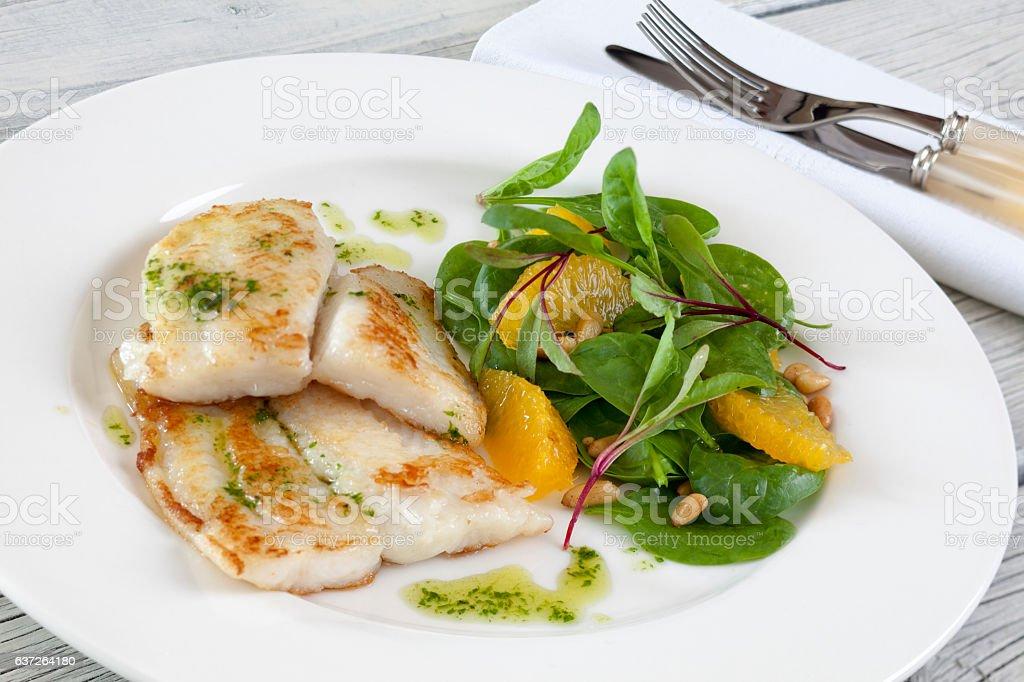 Pan Fried Sea Bass stock photo