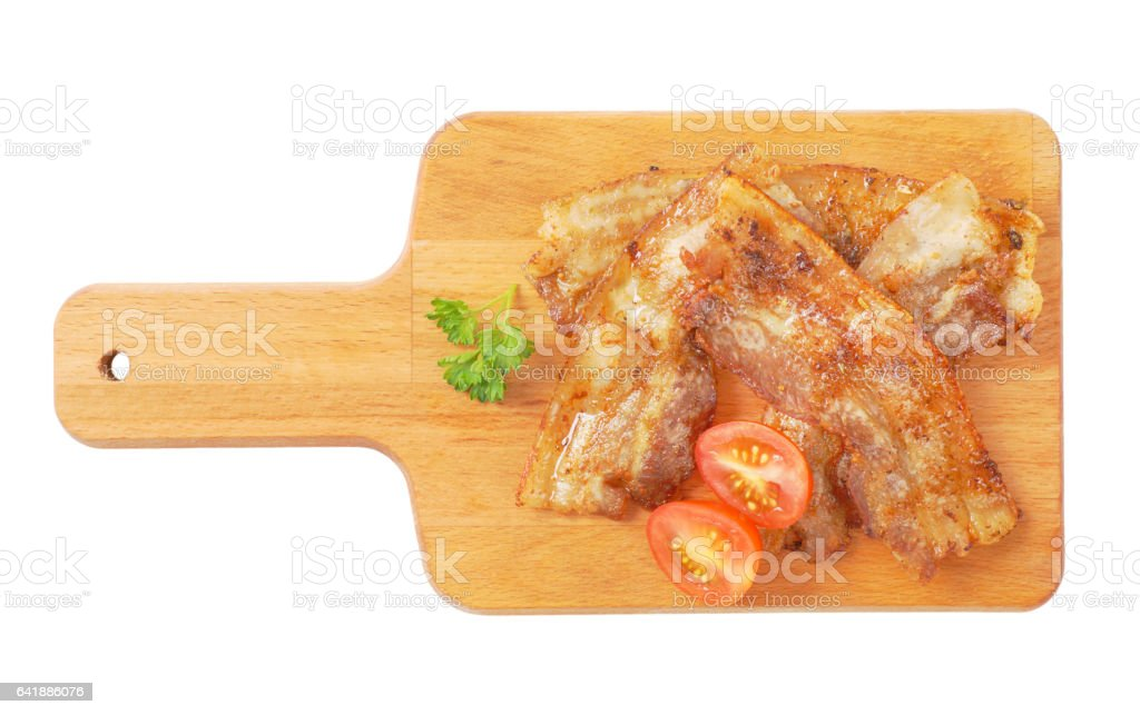 Pan fried side pork bacon stock photo
