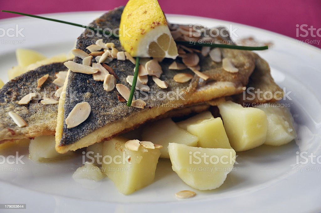 Pan fried trout fillets with potatoes royalty-free stock photo