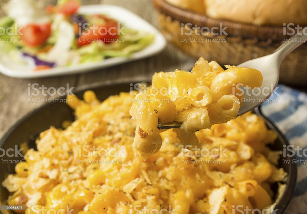 pan of baked macaroni and cheese stock photo