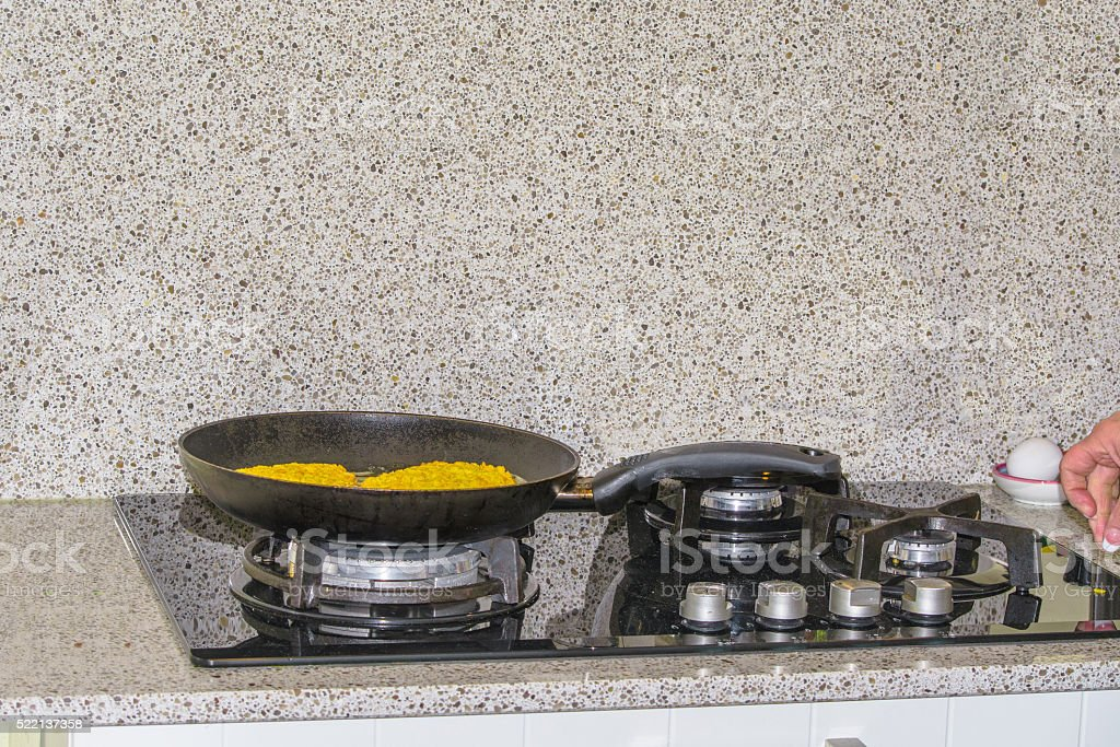 Pan on a gas cooker stock photo