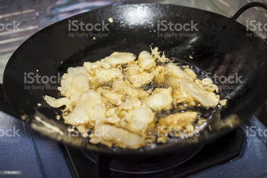 Pan on the stove stock photo