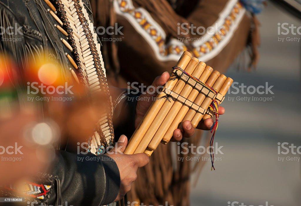 pan pipe  street musicians stock photo