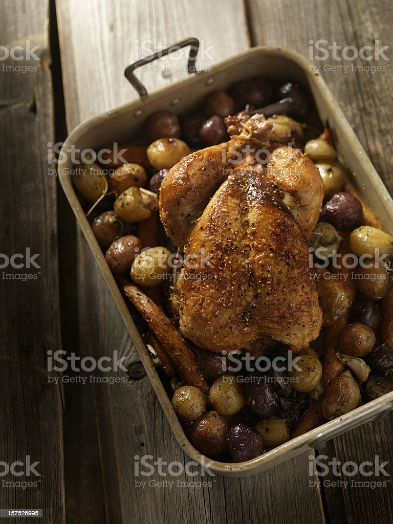 Pan Roasted Chicken with Carrots and Potatoes royalty-free stock photo