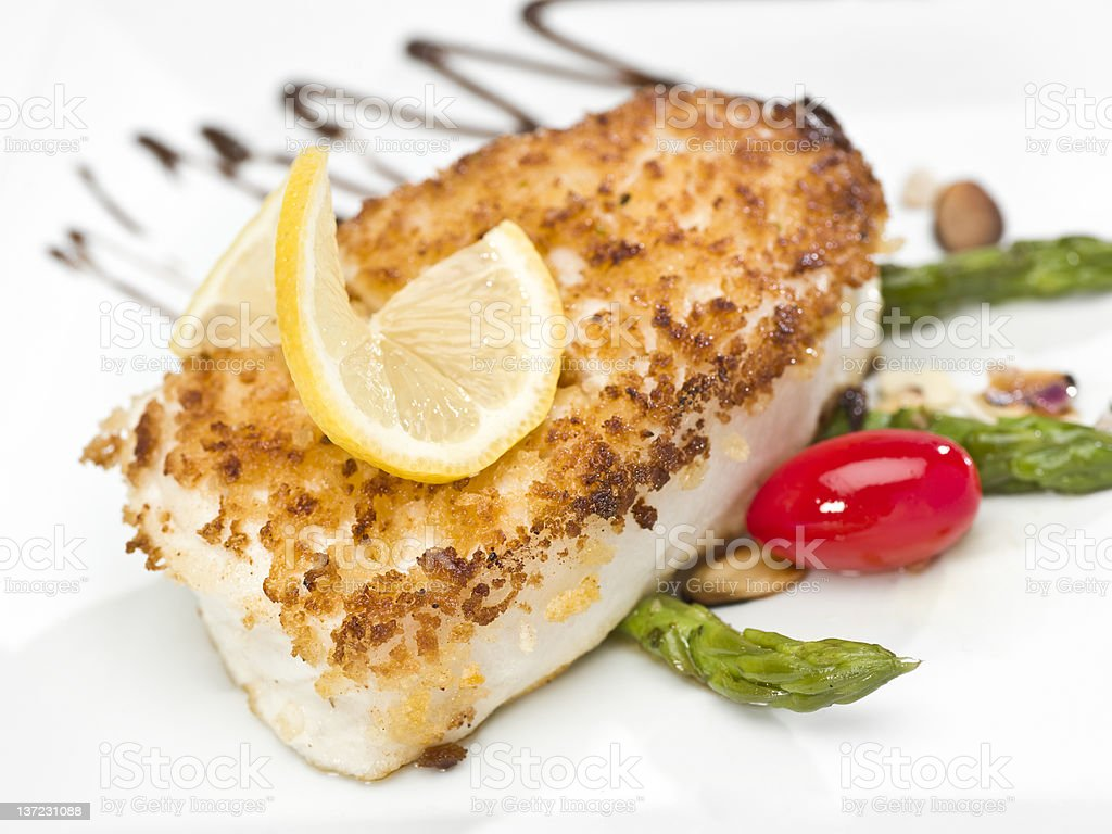 Pan Roasted Fillet of Fish stock photo