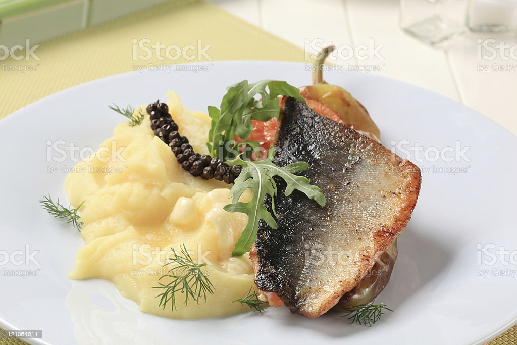Pan roasted salmon trout fillet royalty-free stock photo