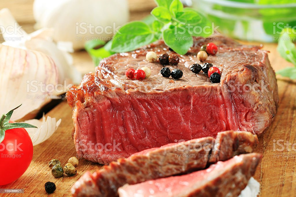 Pan seared beef steak royalty-free stock photo