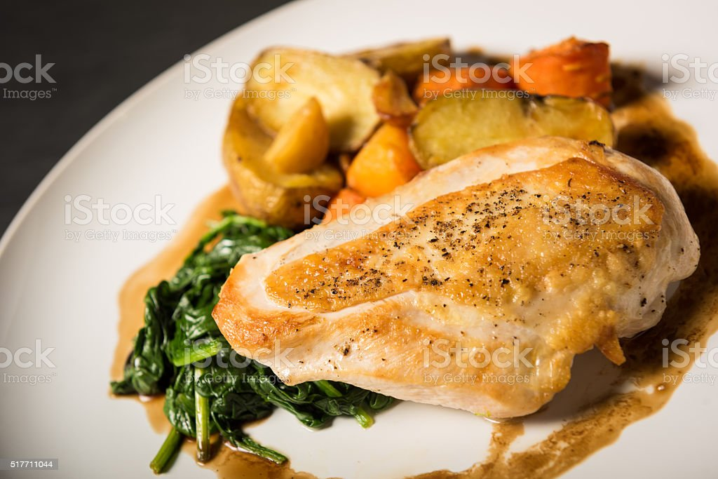 Pan seared chicken breast stock photo