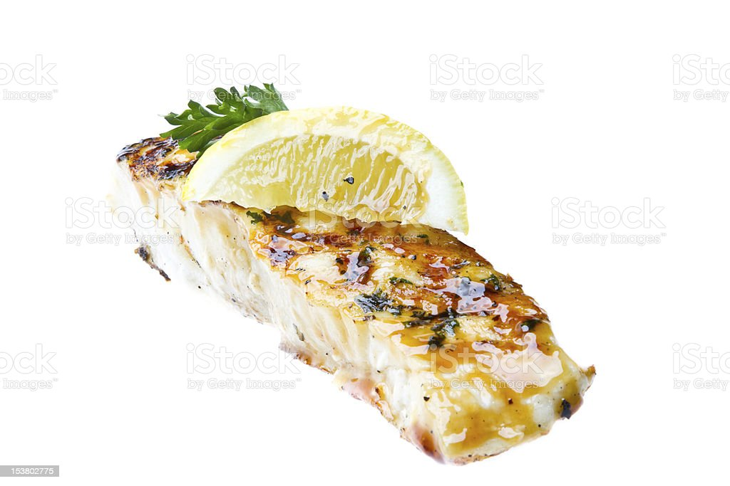 Pan Seared Cod or Halibut stock photo