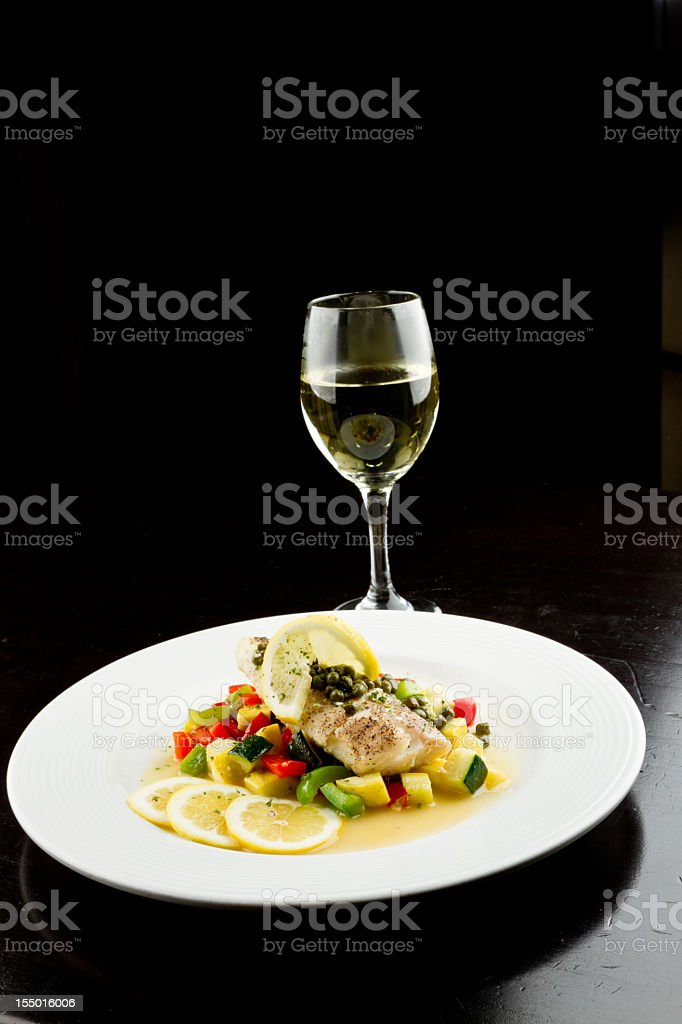 Pan Seared Cod or Halibut royalty-free stock photo