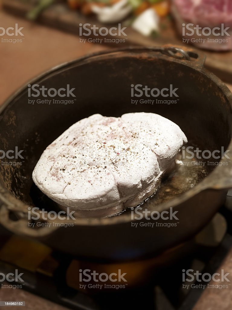 Pan Searing, Raw Veal Shanks royalty-free stock photo