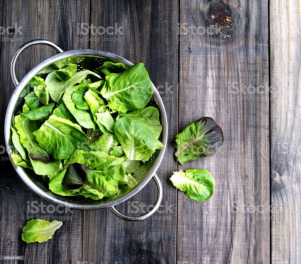 Pan with a green salad stock photo