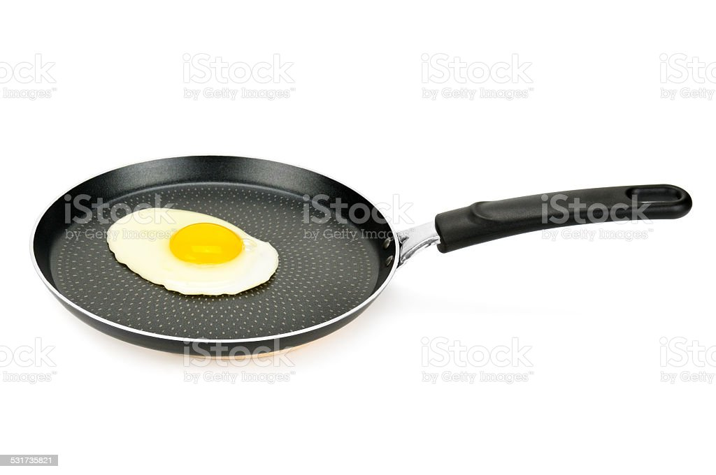 pan with fried eggs stock photo