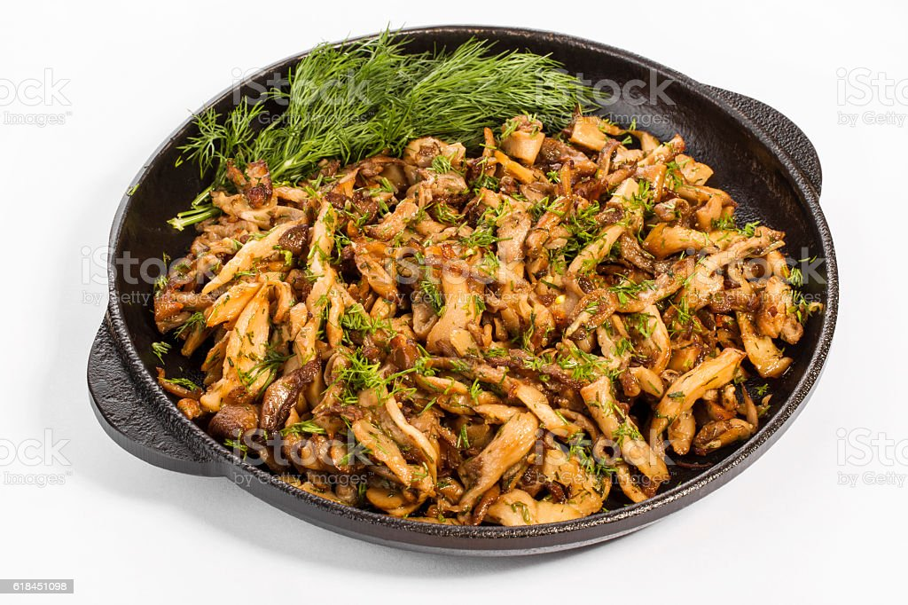 pan with fried mushrooms healthy Eating stock photo