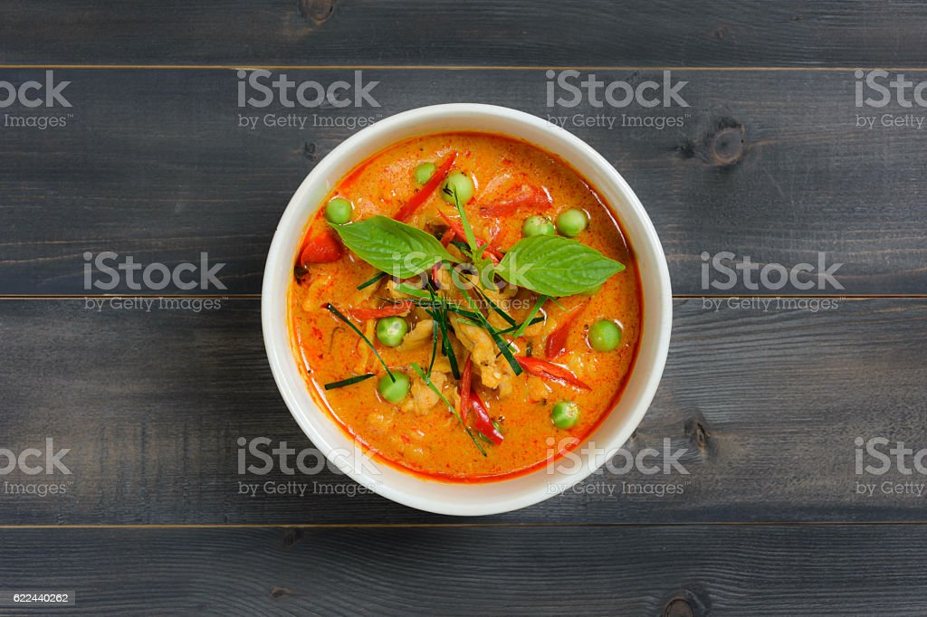 Panaeng curry with pork stock photo
