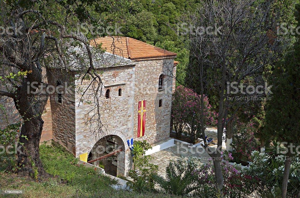 Panagia Evangelistria monastery at Skiathos island in Greece royalty-free stock photo