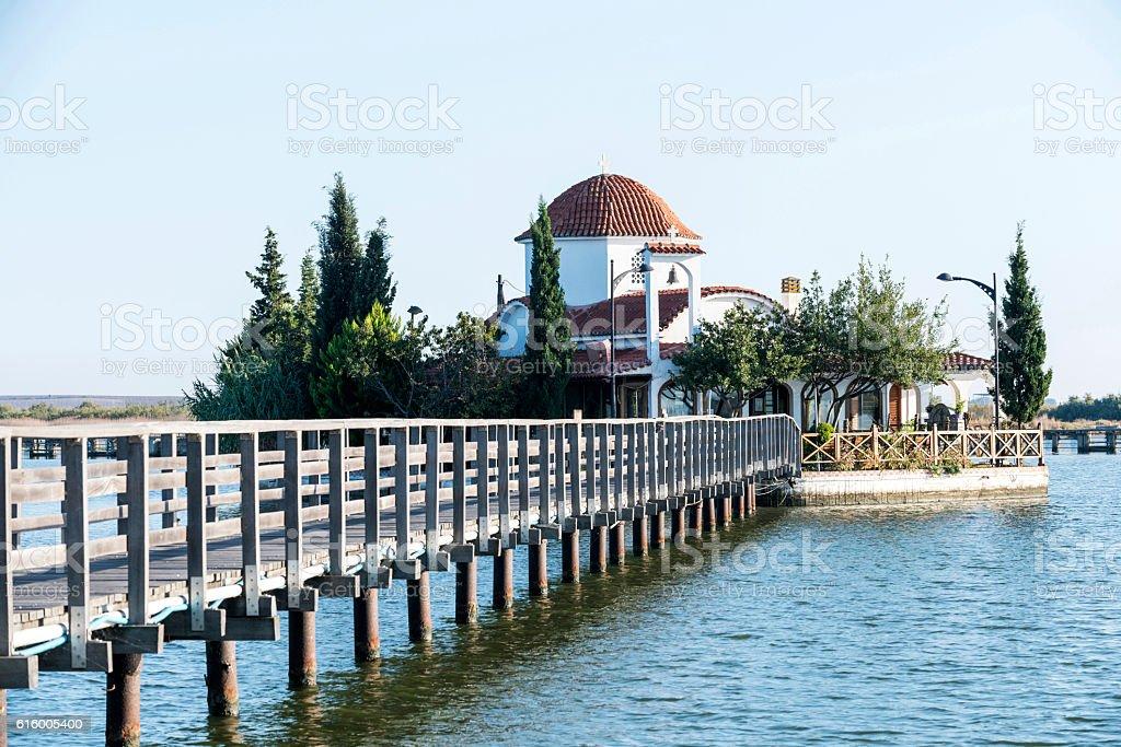 Panagia Pantanassa on Vistonida Lake in Porto Lagos, Greece stock photo