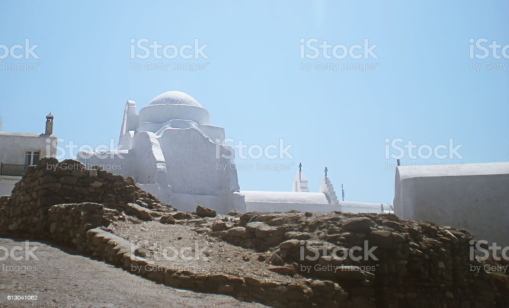 Panagia Paraportiani Church on Mykonos island stock photo