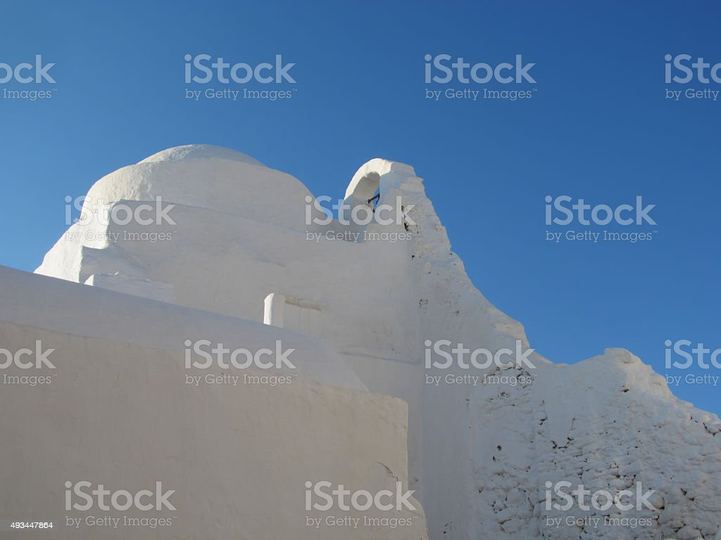 Panagia Paraportiani Traditional Whitewashed Church in Mykonos stock photo