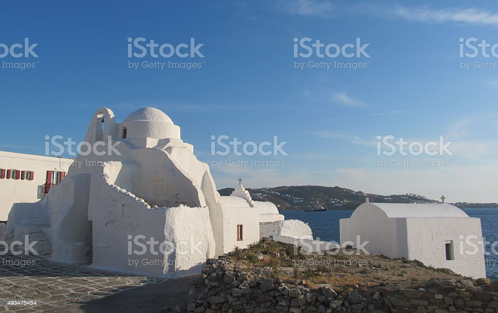 Panagia Paraportiani Traditional Whitewashed Church in Mykonos Town stock photo