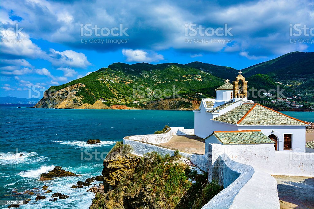 Panagitsa Tou Pirgou church, Skopelos, Greece stock photo