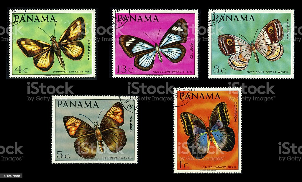 Panama butterfly stamps set royalty-free stock photo